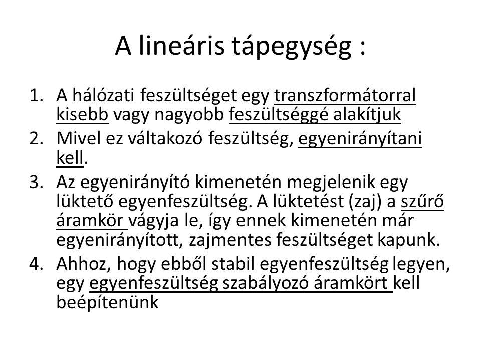 A lineáris tápegység : A hálózati feszültséget egy transzformátorral kisebb vagy nagyobb feszültséggé alakítjuk.