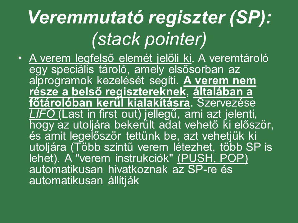 Veremmutató regiszter (SP): (stack pointer)