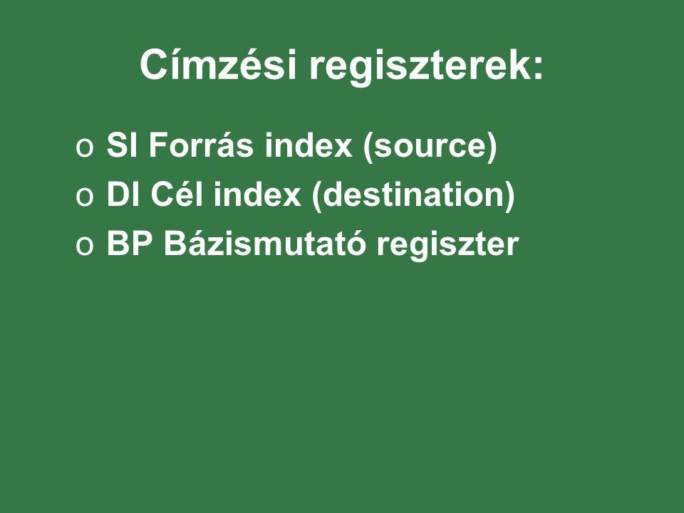 Címzési regiszterek: SI Forrás index (source)