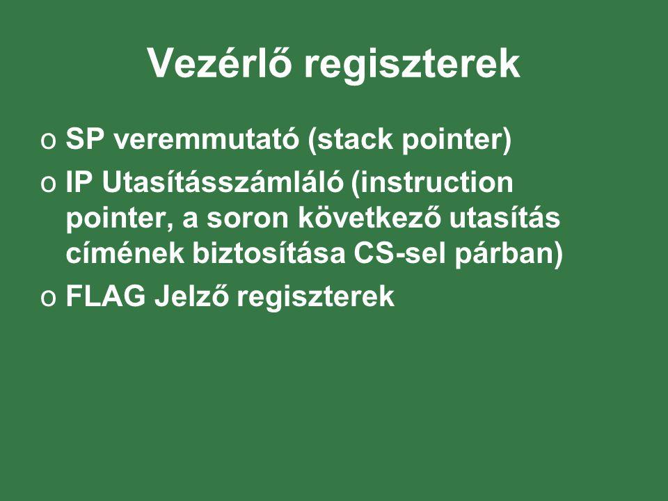 Vezérlő regiszterek SP veremmutató (stack pointer)