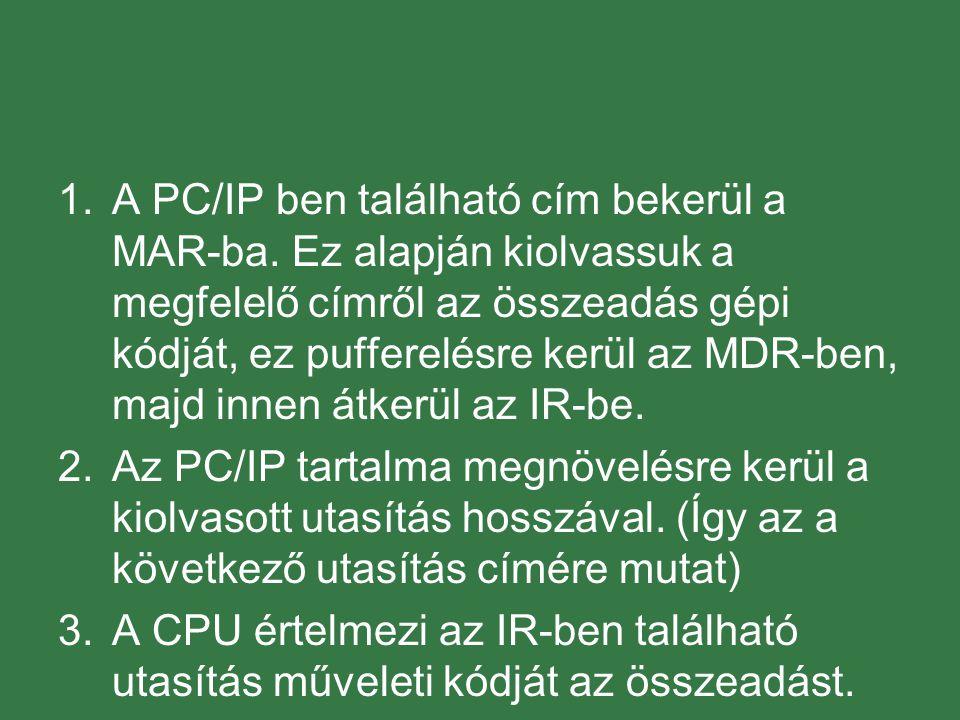A PC/IP ben található cím bekerül a MAR-ba