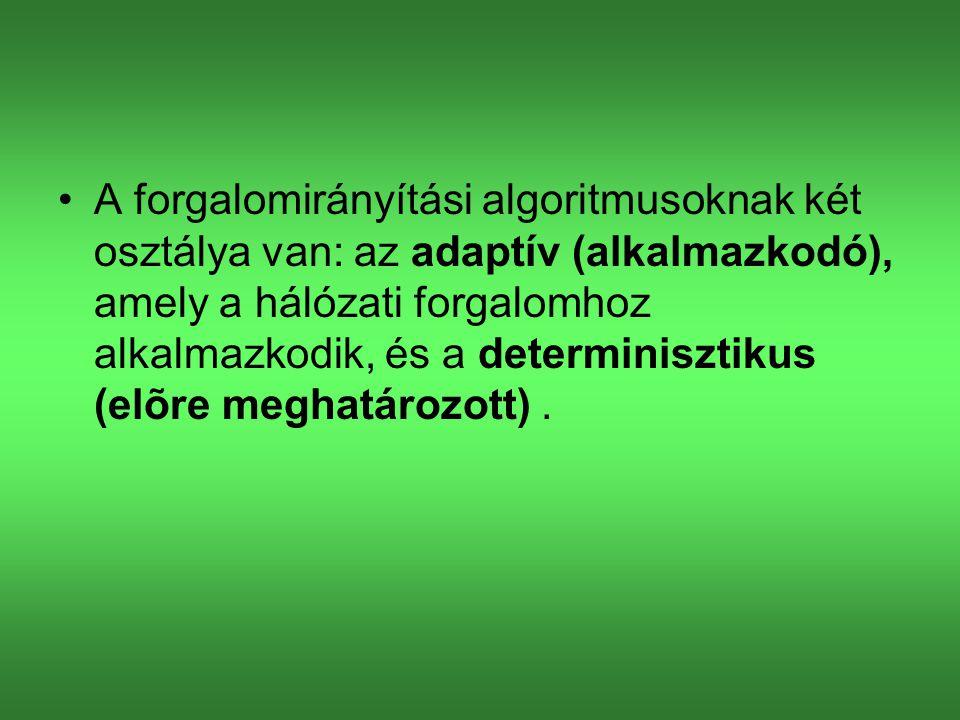 A forgalomirányítási algoritmusoknak két osztálya van: az adaptív (alkalmazkodó), amely a hálózati forgalomhoz alkalmazkodik, és a determinisztikus (elõre meghatározott) .