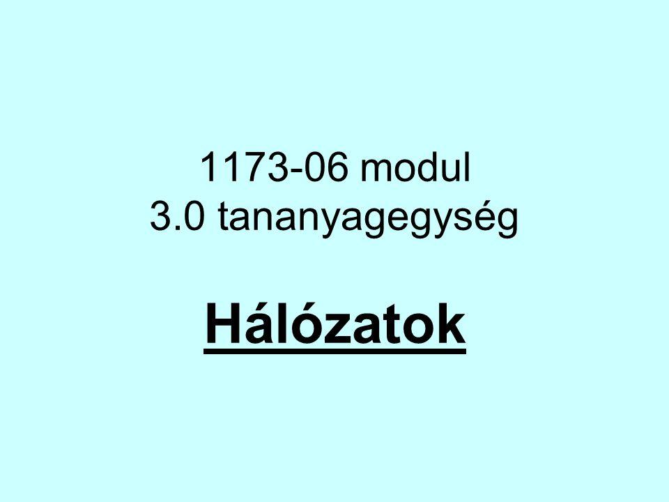 1173-06 modul 3.0 tananyagegység Hálózatok