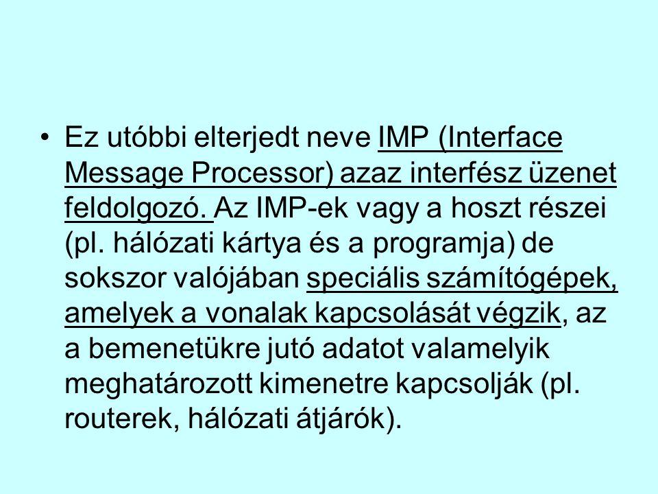 Ez utóbbi elterjedt neve IMP (Interface Message Processor) azaz interfész üzenet feldolgozó.