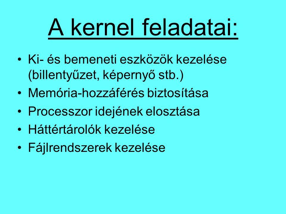 A kernel feladatai: Ki- és bemeneti eszközök kezelése (billentyűzet, képernyő stb.) Memória-hozzáférés biztosítása.