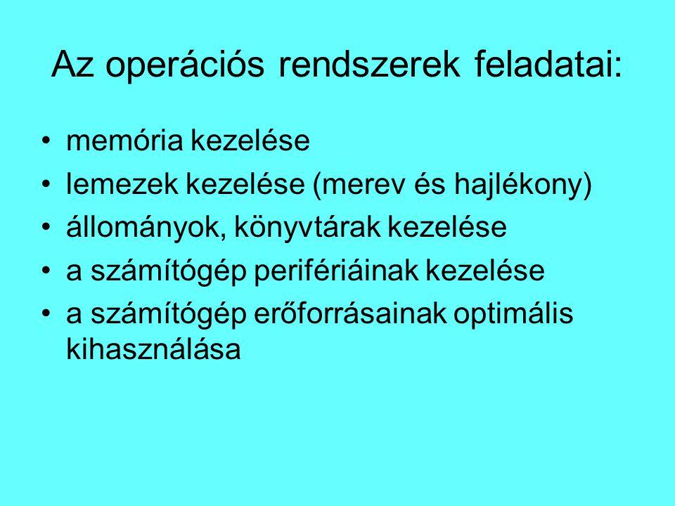Az operációs rendszerek feladatai: