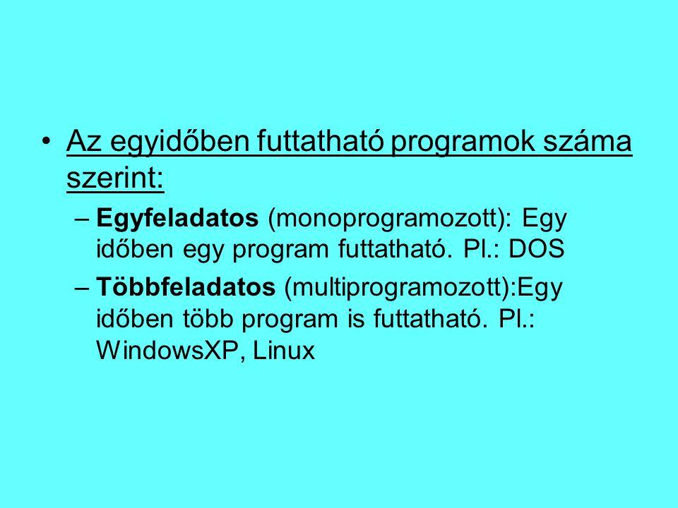 Az egyidőben futtatható programok száma szerint: