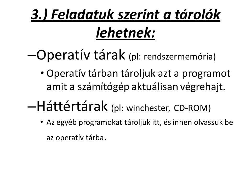 3.) Feladatuk szerint a tárolók lehetnek: