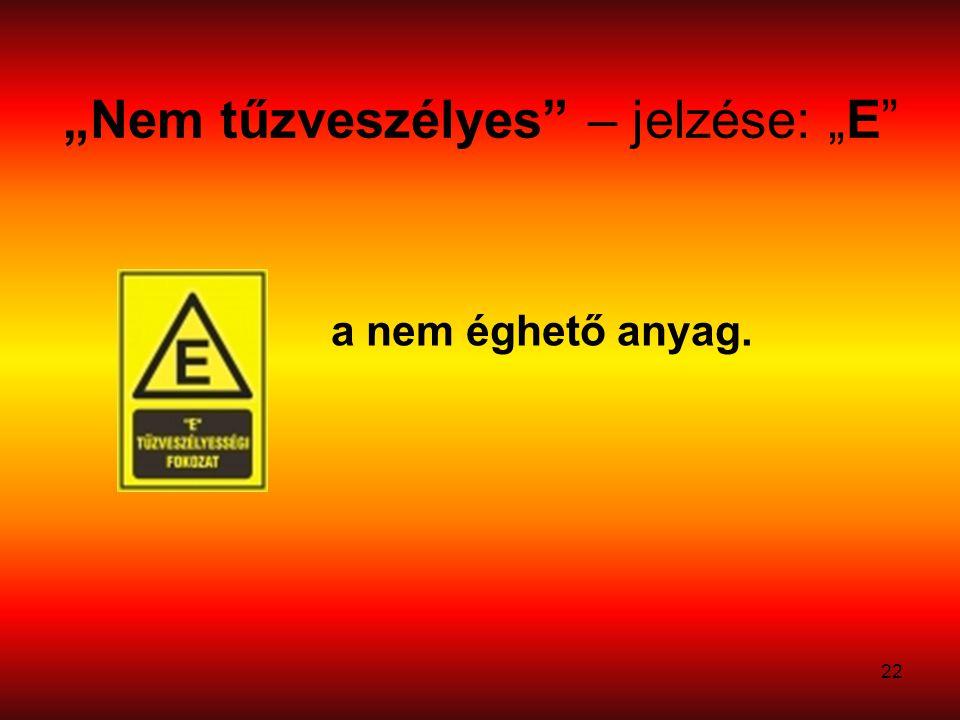 """""""Nem tűzveszélyes – jelzése: """"E"""