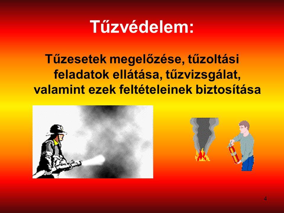 Tűzvédelem: Tűzesetek megelőzése, tűzoltási feladatok ellátása, tűzvizsgálat, valamint ezek feltételeinek biztosítása.