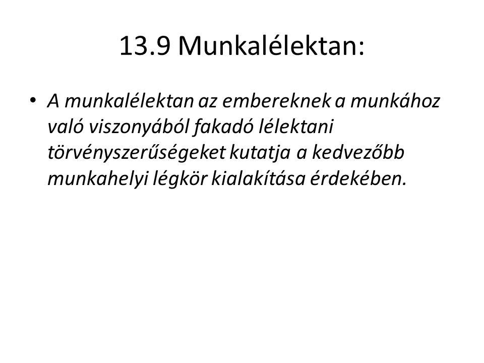 13.9 Munkalélektan: