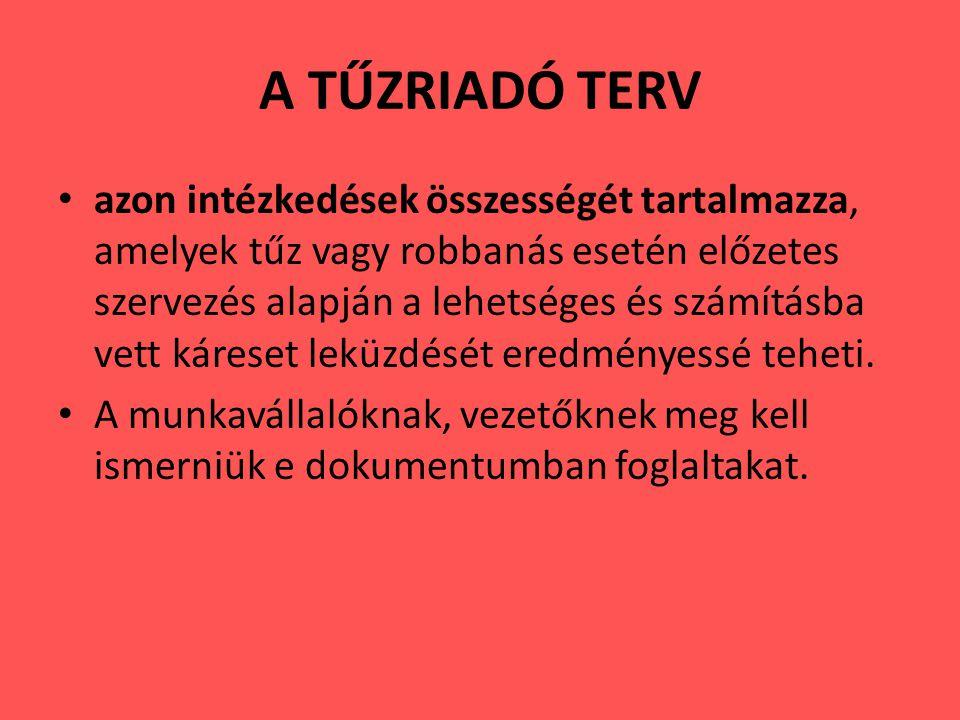 A TŰZRIADÓ TERV