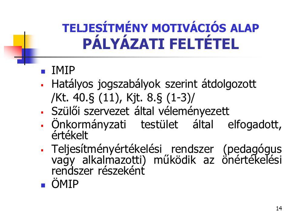 TELJESÍTMÉNY MOTIVÁCIÓS ALAP PÁLYÁZATI FELTÉTEL