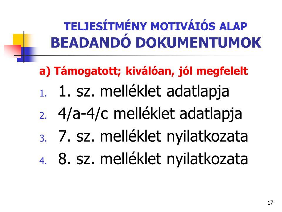 TELJESÍTMÉNY MOTIVÁIÓS ALAP BEADANDÓ DOKUMENTUMOK