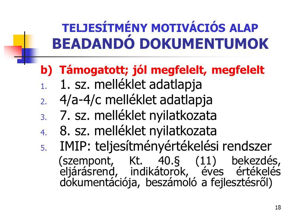 TELJESÍTMÉNY MOTIVÁCIÓS ALAP BEADANDÓ DOKUMENTUMOK