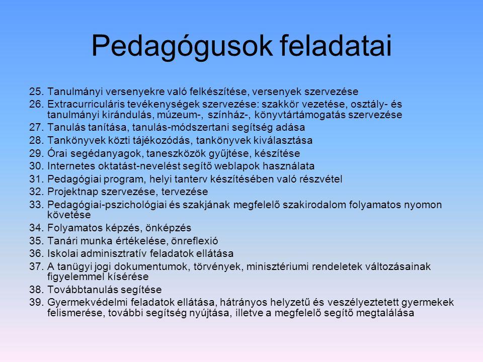 Pedagógusok feladatai