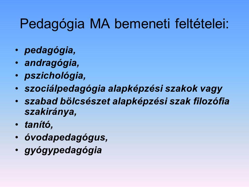 Pedagógia MA bemeneti feltételei: