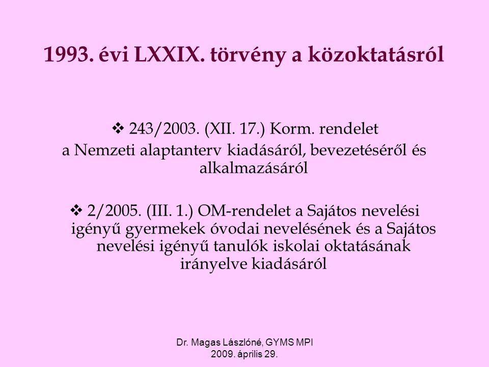 1993. évi LXXIX. törvény a közoktatásról