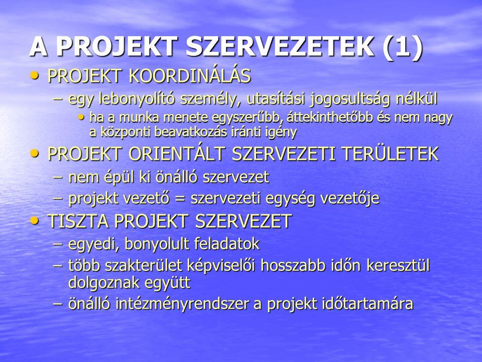 A PROJEKT SZERVEZETEK (1)