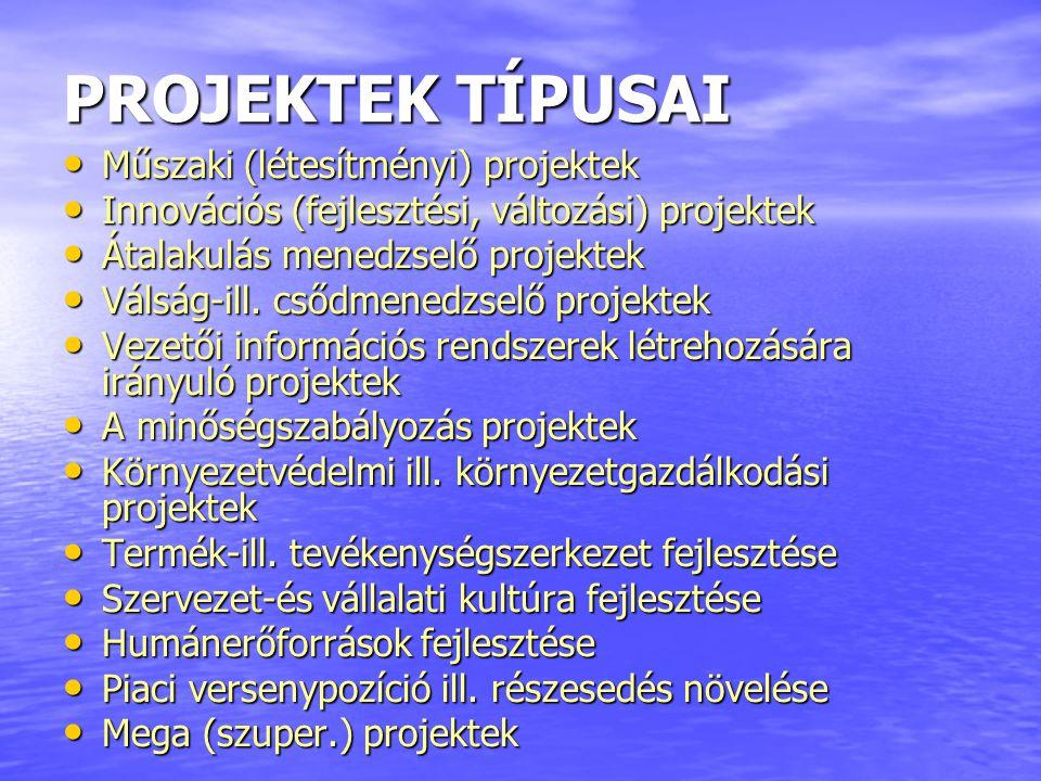 PROJEKTEK TÍPUSAI Műszaki (létesítményi) projektek