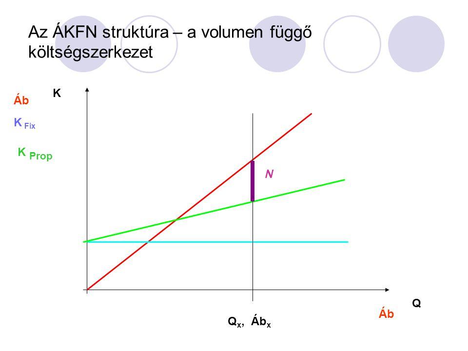 Az ÁKFN struktúra – a volumen függő költségszerkezet