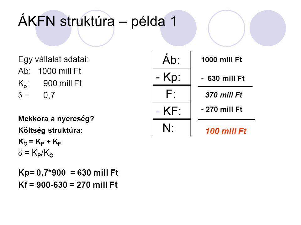 ÁKFN struktúra – példa 1 Áb: - Kp: F: KF: N: Egy vállalat adatai: