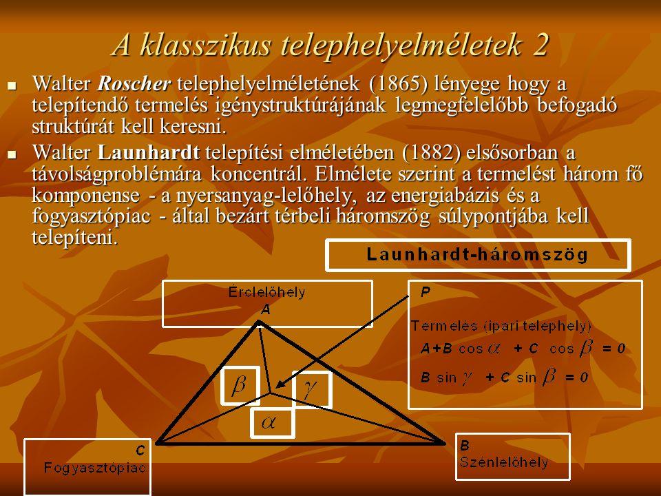 A klasszikus telephelyelméletek 2