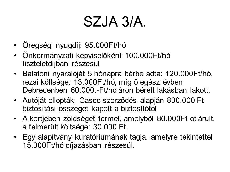 SZJA 3/A. Öregségi nyugdíj: 95.000Ft/hó