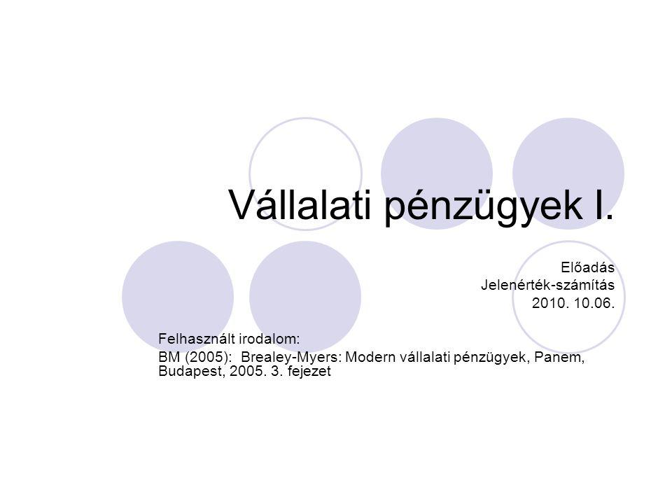 Vállalati pénzügyek I. Előadás Jelenérték-számítás 2010. 10.06.