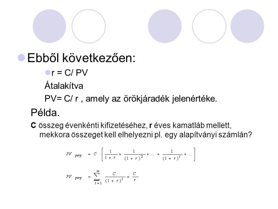 Ebből következően: Példa. r = C/ PV Átalakítva