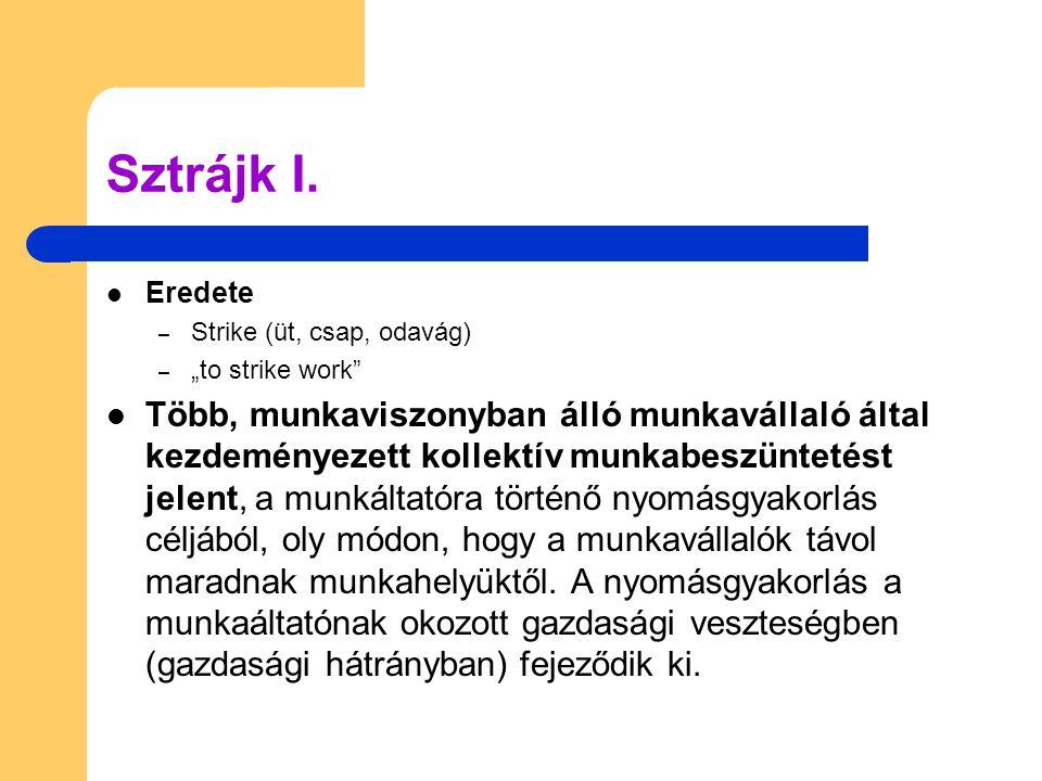 """Sztrájk I. Eredete. Strike (üt, csap, odavág) """"to strike work"""