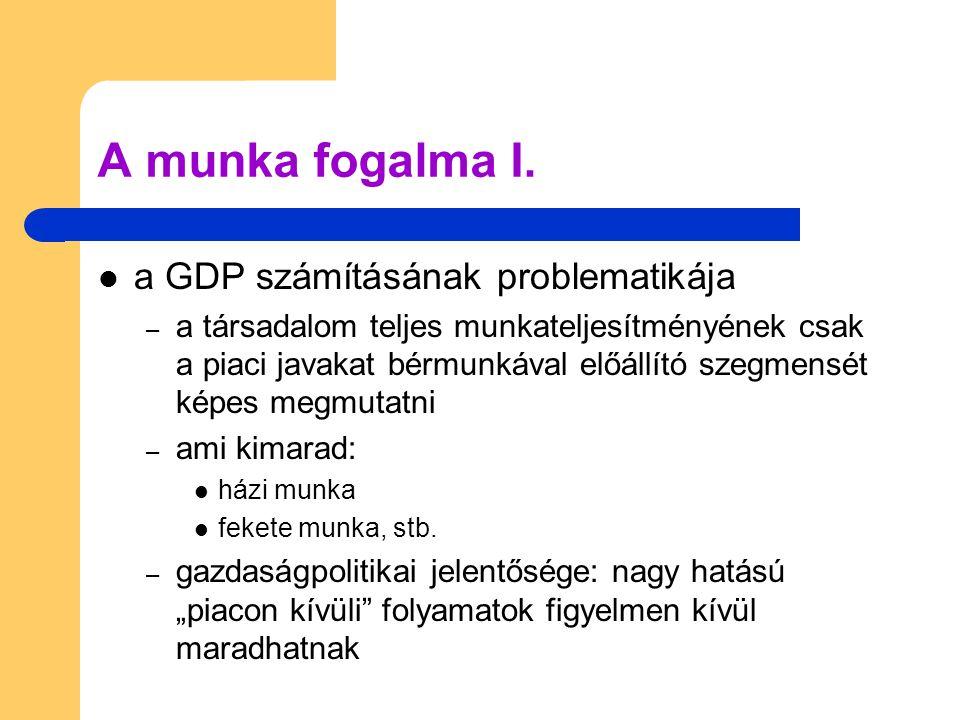 A munka fogalma I. a GDP számításának problematikája