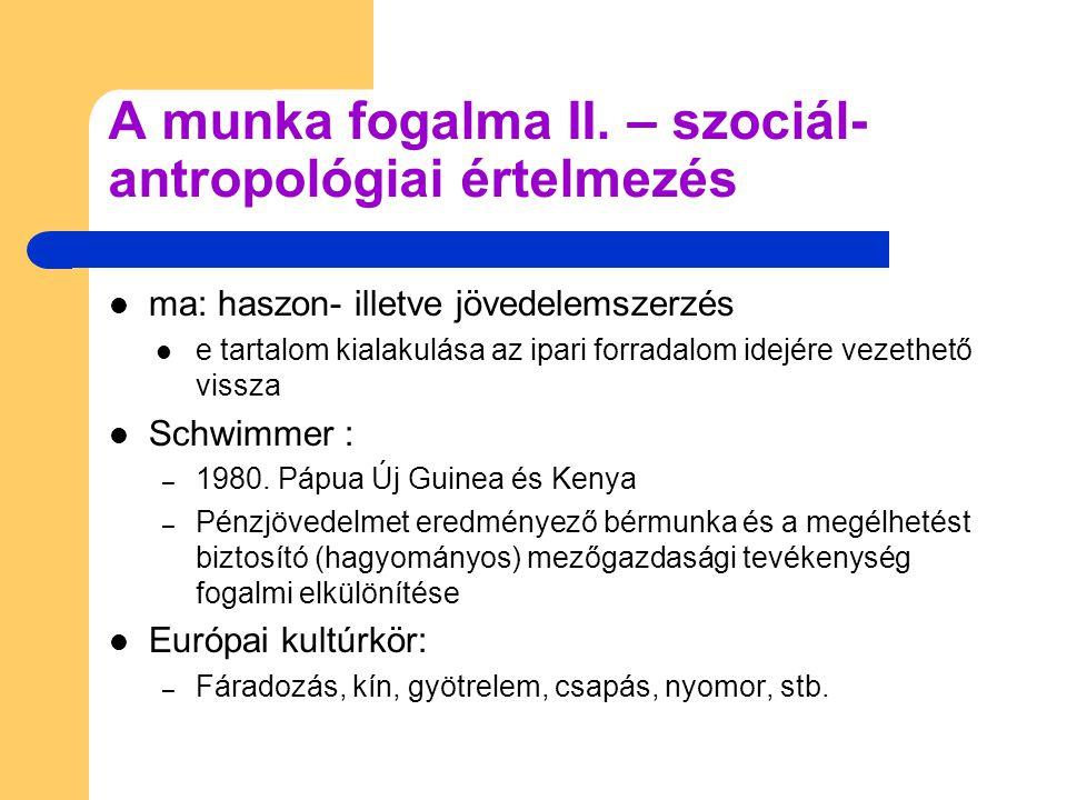 A munka fogalma II. – szociál-antropológiai értelmezés