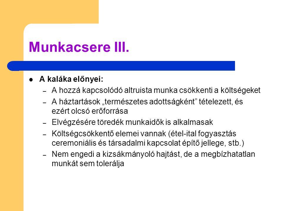 Munkacsere III. A kaláka előnyei:
