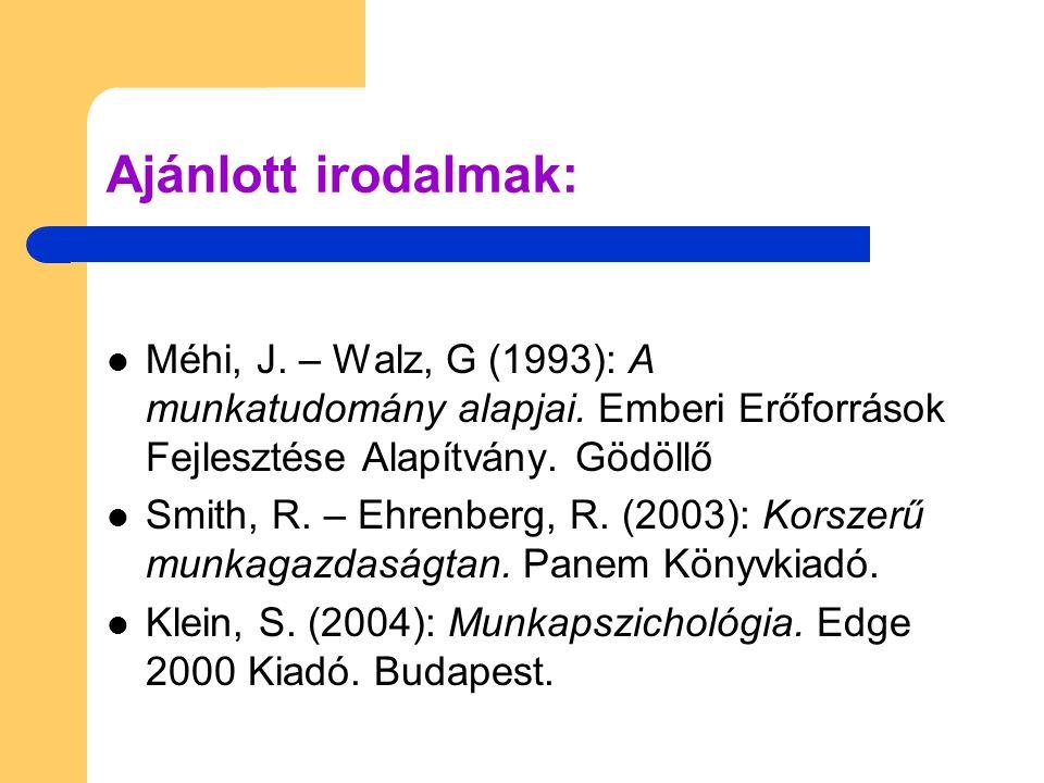 Ajánlott irodalmak: Méhi, J. – Walz, G (1993): A munkatudomány alapjai. Emberi Erőforrások Fejlesztése Alapítvány. Gödöllő.