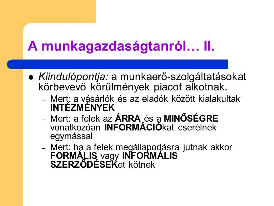 A munkagazdaságtanról… II.