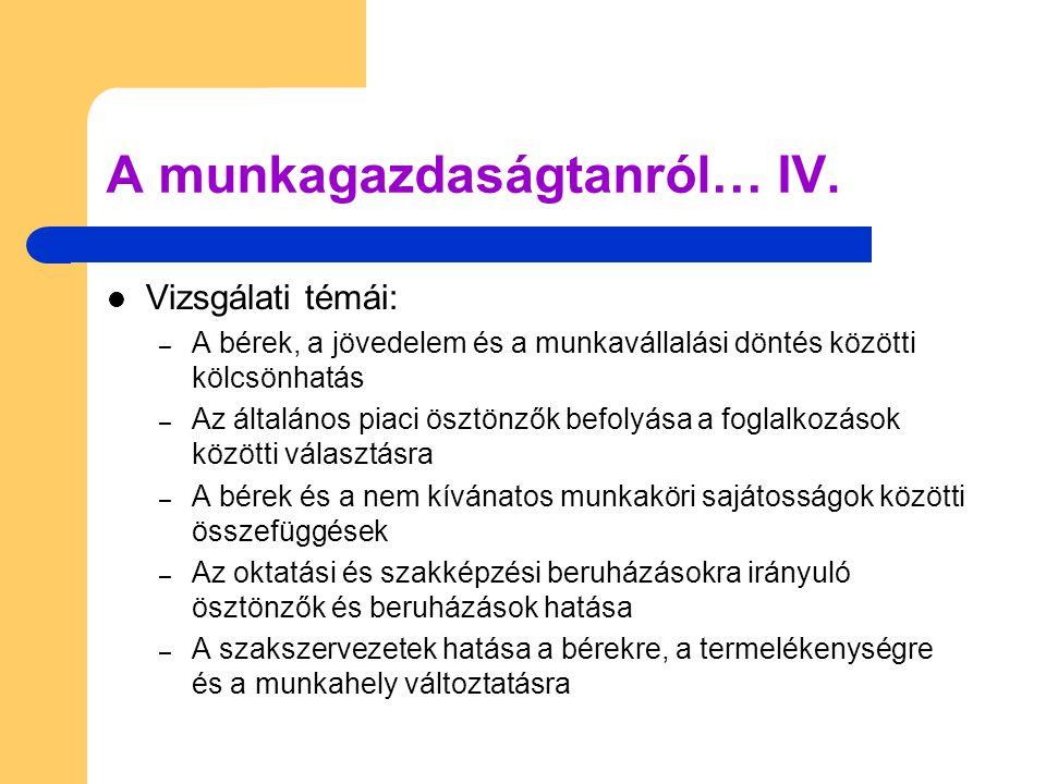 A munkagazdaságtanról… IV.
