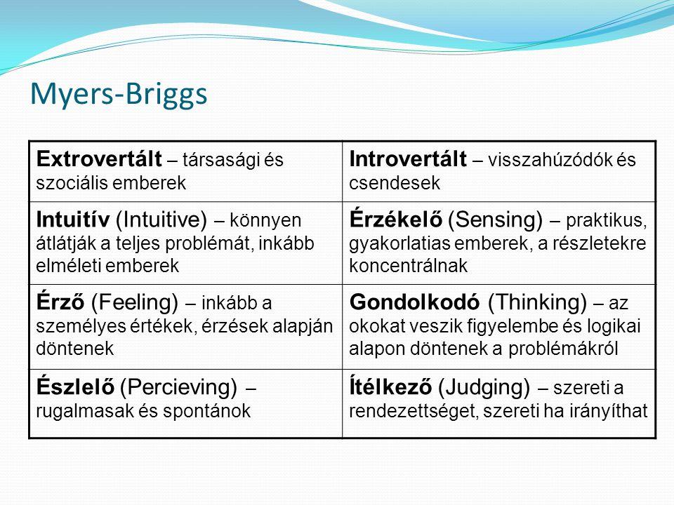 Myers-Briggs Extrovertált – társasági és szociális emberek