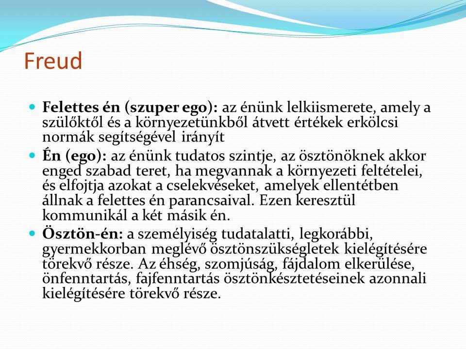 Freud Felettes én (szuper ego): az énünk lelkiismerete, amely a szülőktől és a környezetünkből átvett értékek erkölcsi normák segítségével irányít.
