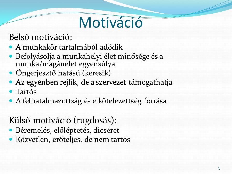 Motiváció Belső motiváció: Külső motiváció (rugdosás):