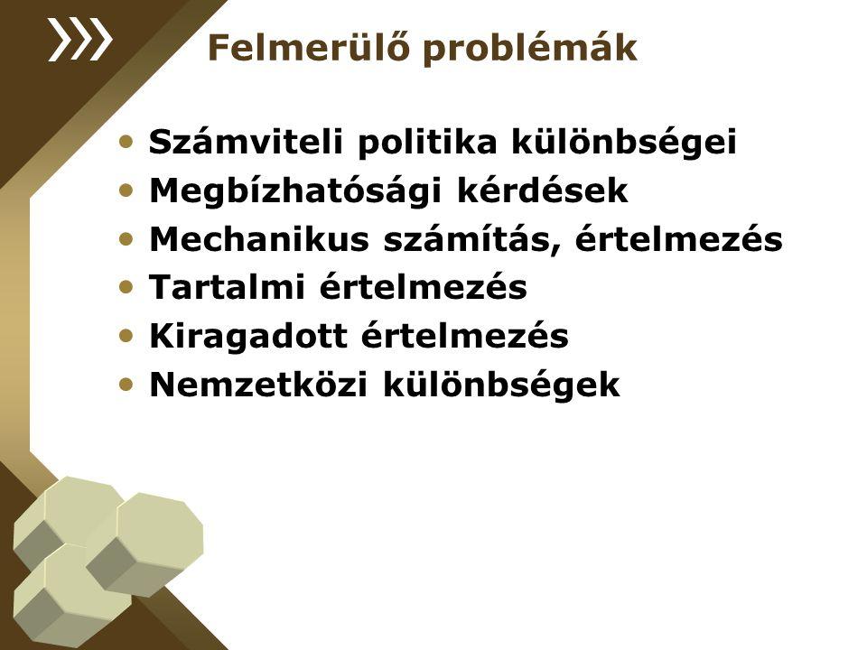 Felmerülő problémák Számviteli politika különbségei