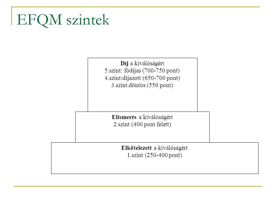 EFQM szintek Díj a kiválóságért 5.szint: fődíjas (700-750 pont)