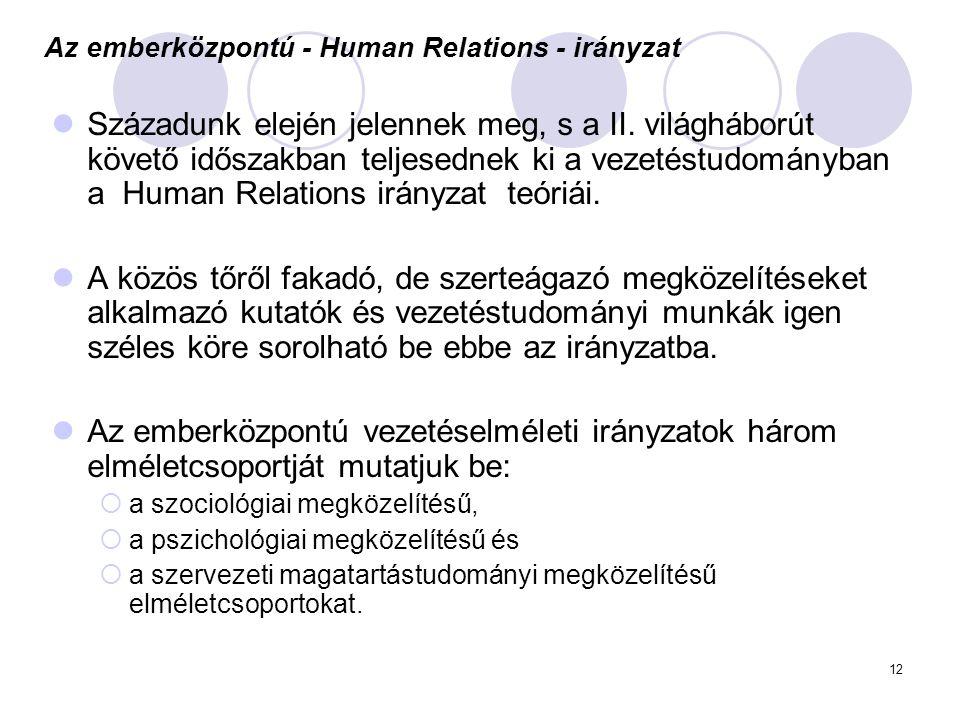 Az emberközpontú - Human Relations - irányzat