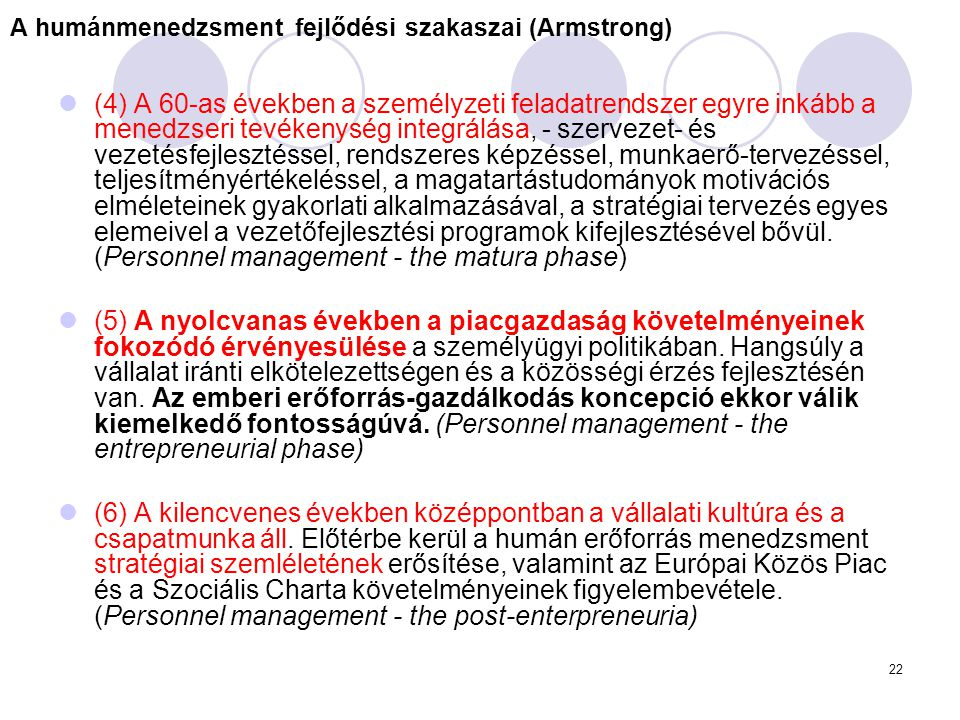 A humánmenedzsment fejlődési szakaszai (Armstrong)