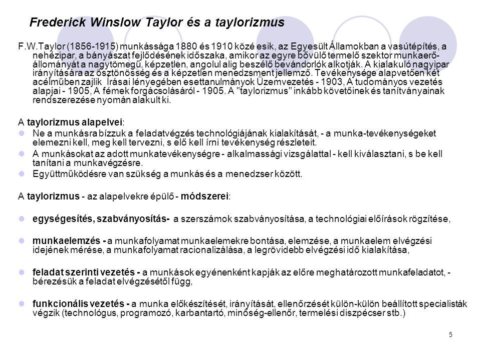 Frederick Winslow Taylor és a taylorizmus
