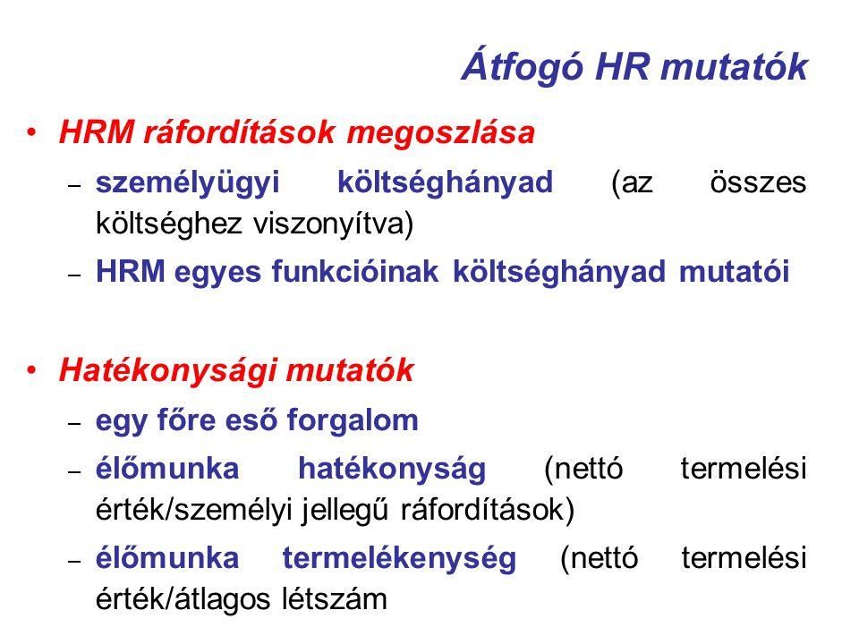 Átfogó HR mutatók HRM ráfordítások megoszlása Hatékonysági mutatók