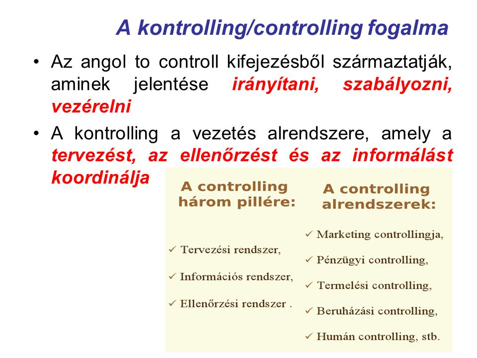 A kontrolling/controlling fogalma