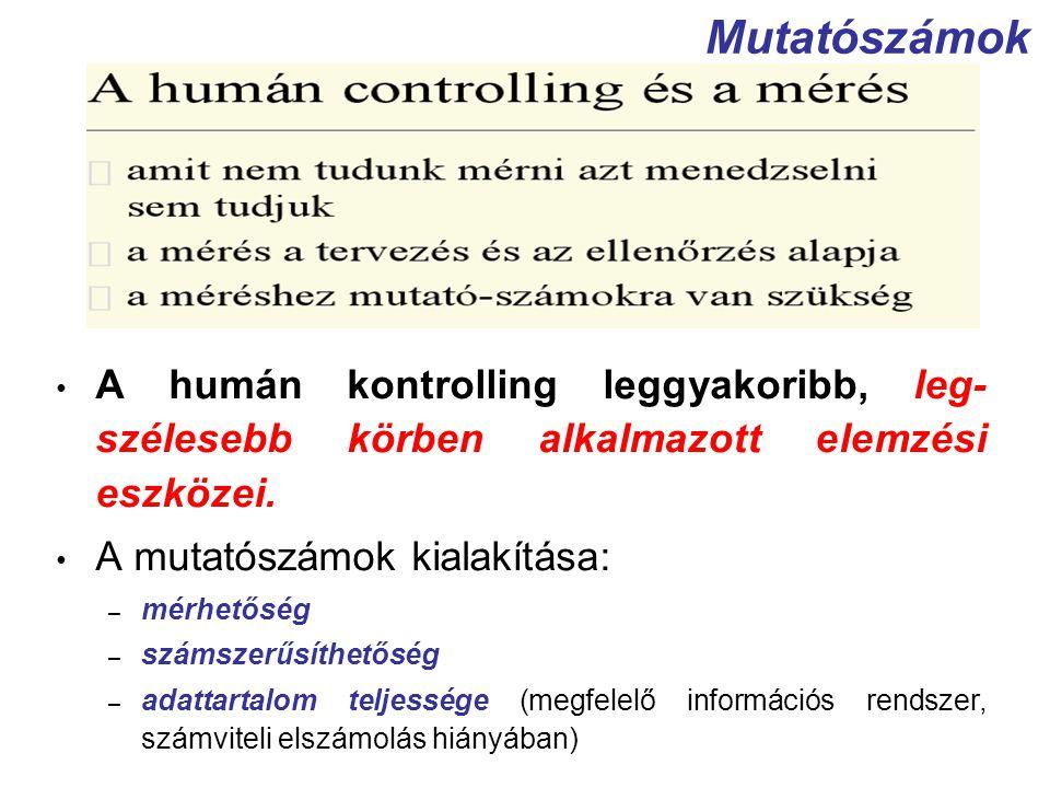 Mutatószámok A humán kontrolling leggyakoribb, leg-szélesebb körben alkalmazott elemzési eszközei. A mutatószámok kialakítása: