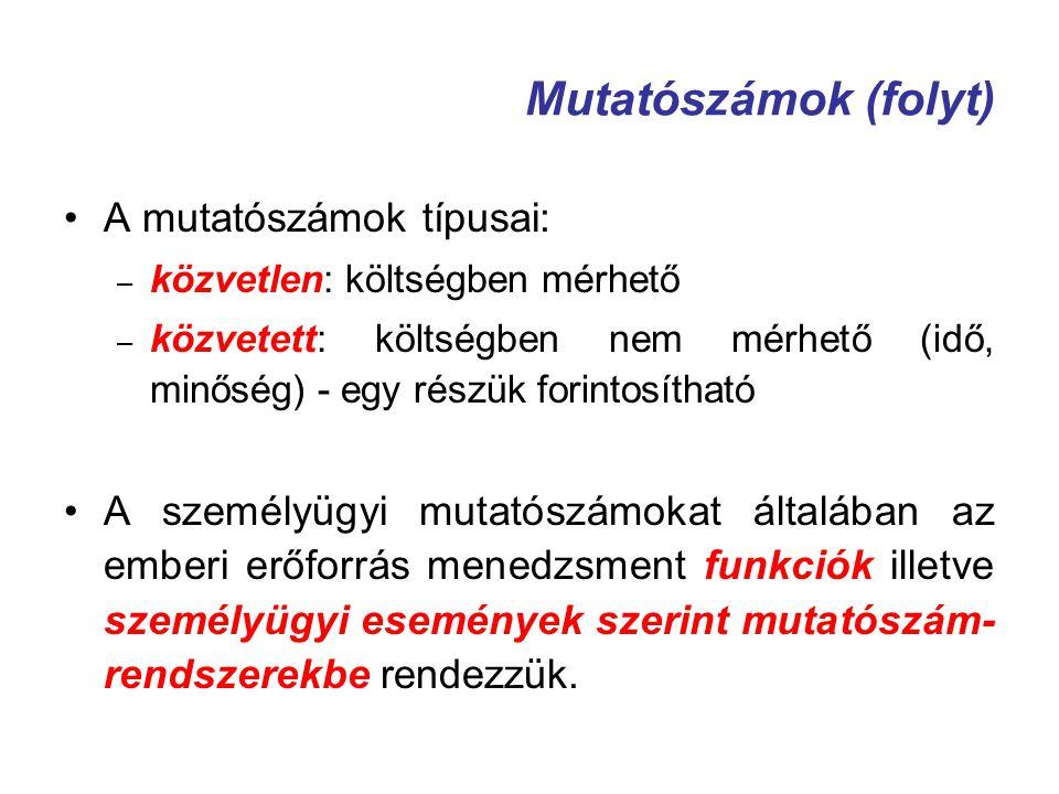 Mutatószámok (folyt) A mutatószámok típusai: