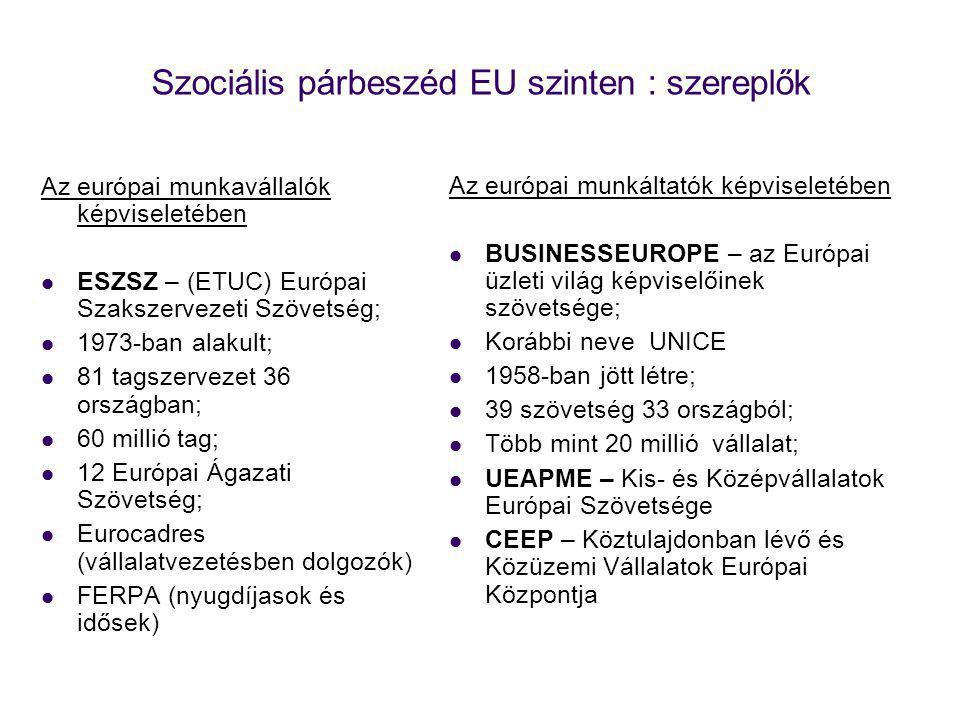 Szociális párbeszéd EU szinten : szereplők